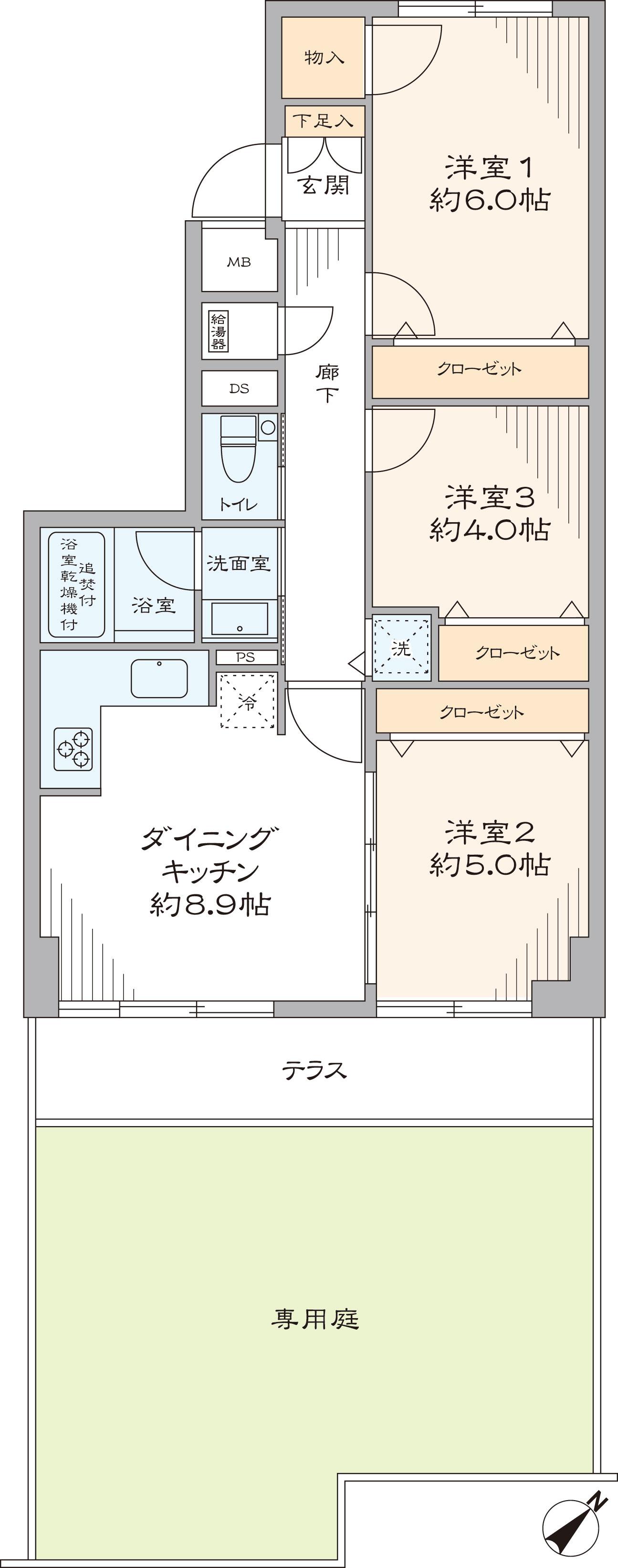 グリーンコーポ大倉山B棟(間取り)